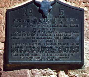 [Pipe Spring NM dedication plaque]