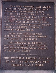 [Geronimo plaque]