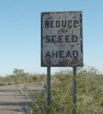 [Reduce speed ahead]
