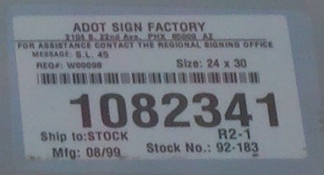 [ADOT sign factory sticker]